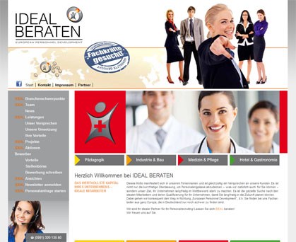 Screenshot ideal-beraten Werbeagentur Deggendorf