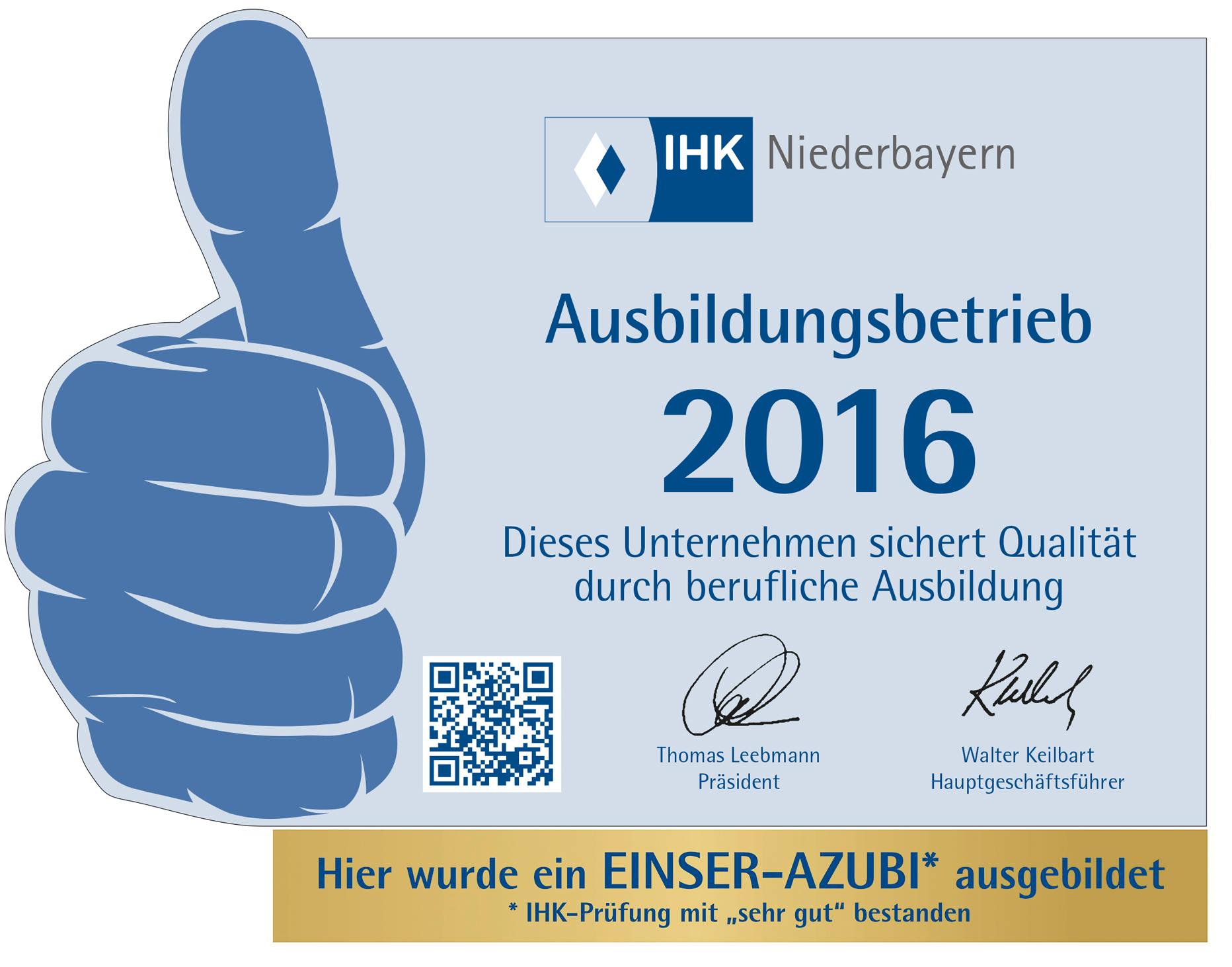 Werbeagentur M&W Ausbildungsbetrieb IHK Passau 2016