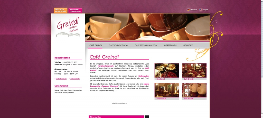 Website Greindl altes Design