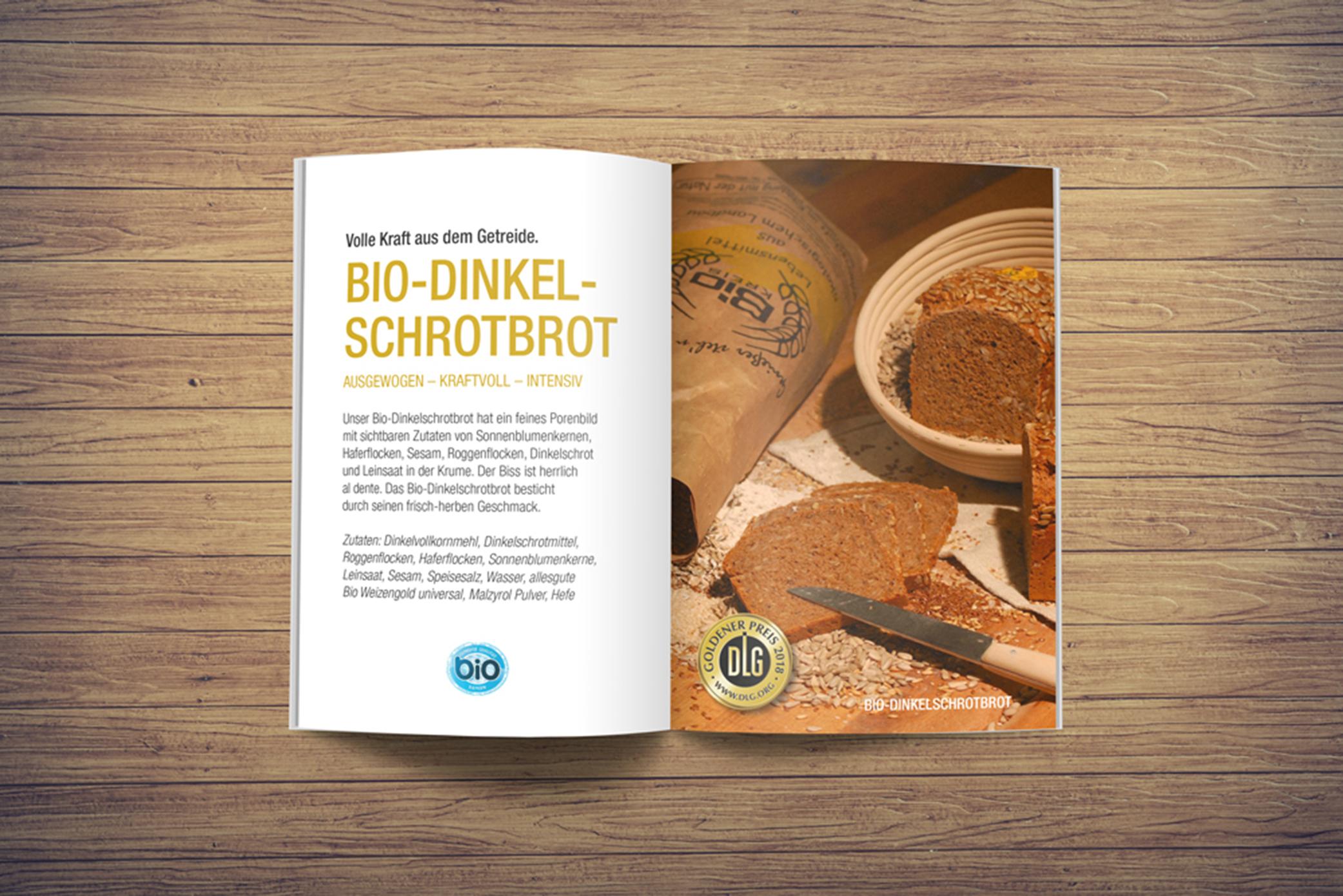 Werbeagentur M&W - Gestaltung und Produktion BIO-Brotflyer Landbäckerei Kerscher