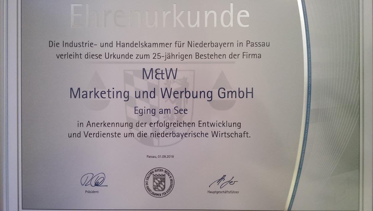 Werbeagentur M&W Ehrenurkunde IHK Niederbayern