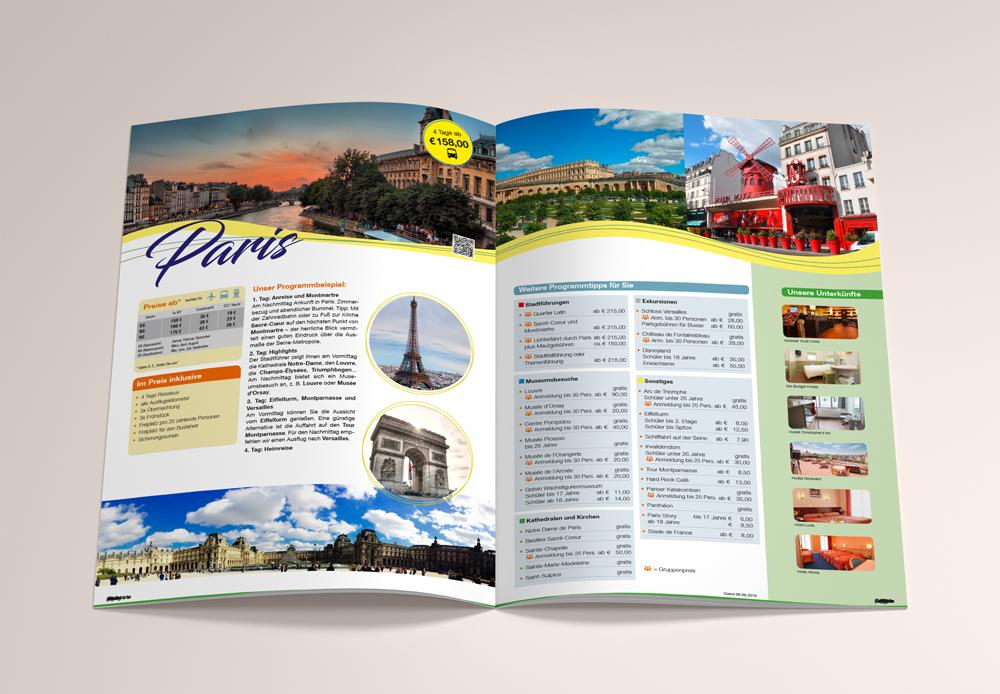 Werbeagentur M&W Gestaltung und Produktion Katalog Schülerreisen für kb Reisedienst