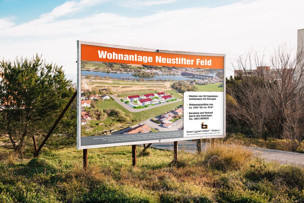 Gestaltung und Produktion Bautafel Bergander Bau - M&W Werbeagentur Eging/Passau