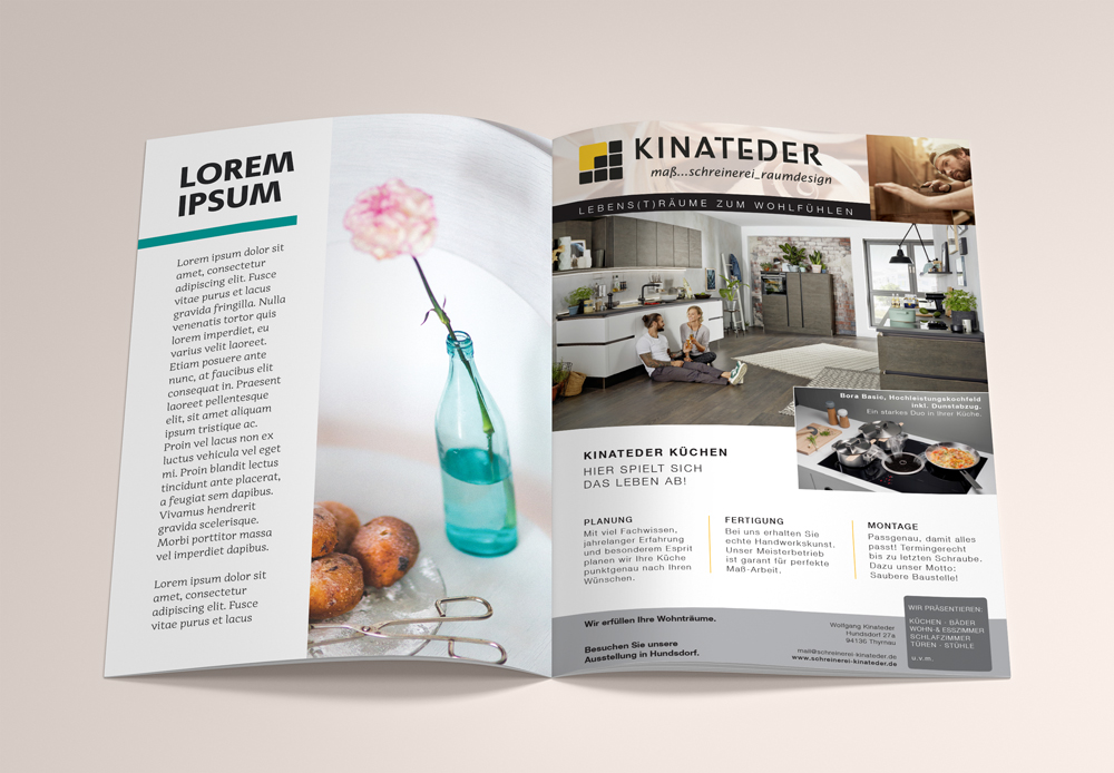 Entwurf Anzeige für Schreinerei Kinateder - M&W Werbeagentur Eging/Passau