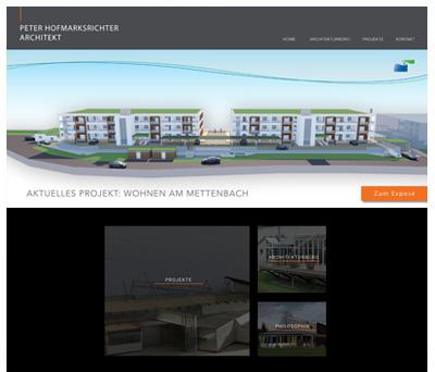 Screenshot Architekt Hofmarksrichter Werbeagentur Deggendorf
