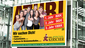 Gestaltung Großflächenplakat Landbäckerei Kerscher - M&W Werbeagentur Eging/Passau